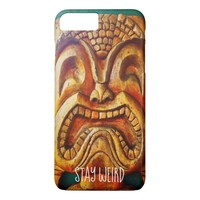 """Stay Weird"" Quote, Fun Retro Wood Tiki Face Photo iPhone 8 Plus/7 Plus Case"