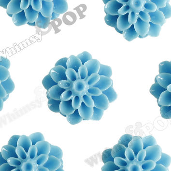 LIGHT BLUE 15mm Dahlia Chrysanthemum Flower Cabochons