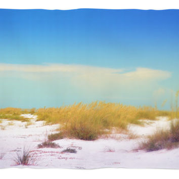 White Dunes - Fleece Blanket, Beach Coastal Landscape Throw Cover, Blue & White Coral Fleece Bedding Furnishing Accent. In 30x40 50x60 60x80