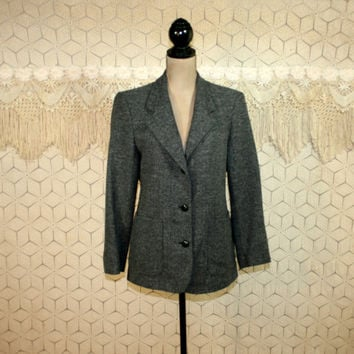 80s LL Bean Gray Tweed Blazer Jacket Wool Jacket Herringbone Womens Jackets Traditional Preppy Womens Blazers Medium 1980s Vintage Clothing