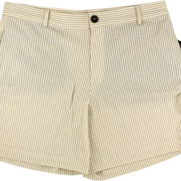 Freedom Shorts in Desert Storm Sand Seersucker by Blankenship Dry Goods - FINAL SALE