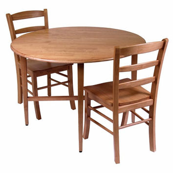 Hannah 3 Piece Dining Set, Drop Leaf Table with 2 Ladder Back Chairs