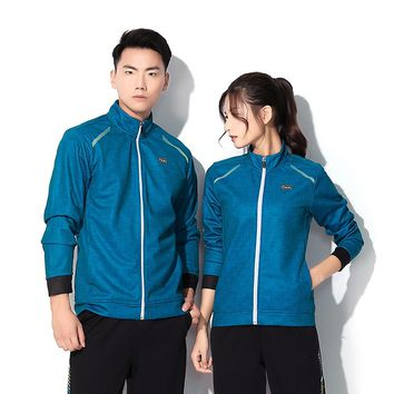 Adsmoney Women Men Long Sleeve Running Jacket Suits Yoga Sport Jacket Fitness Sports Polyester Fitness Gym Tennis Clothing