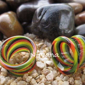 "Rasta Twist Tunnels Pyrex Glass Gauges 6g 4g 2g 0G 00g 7/16"" 1/2"" 9/16"" 5/8"" 4 mm 5 mm 6 mm 8 mm 9.5 mm 10 mm 11.1 mm 12.7 mm 14 mm 16 mm"