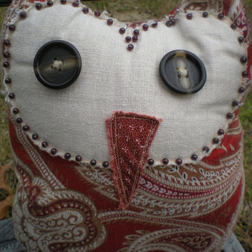 Paprika and gold paisley  barn owl accent pillow with button eyes and glass seed beads