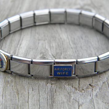 "US Air Force Wife Charm Bracelet - US Air Force Wife 8"" Stainless Steel Italian Charm Bracelet"