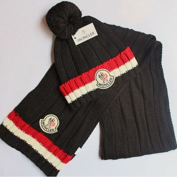 x1love  MONCLER  Women Men Winter Knit Hat Cap Scarf Set Two-Piece