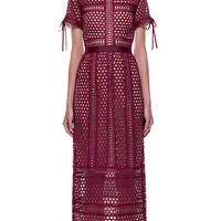 Burgundy Cutwork High Waist Short Sleeve Overlay Midi Dress