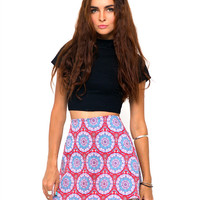 Annie A Line Mini Skirt in Mandala Red