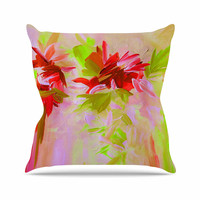 "Ebi Emporium ""Deconstructing the Garden 2"" Red Orange Throw Pillow"
