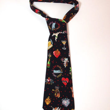 Valentine, Novelty Silk Tie by American Fashion Designer Nicole Miller, Silk Necktie, Secret Admirer, Chocolate Box, Broken Heart, Cherub