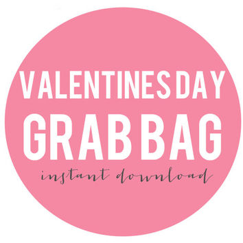Valentine's Day INSTANT DOWNLOAD Grab Bag, Set of 4 art prints, prints and posters, home decor, holiday decoration, classroom party