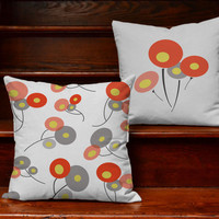 Retro Poppies Pillow Covers and or Cushion Inserts - Decorative Throw Pillows, Wildflower Print, Poppy Print, Geometric Pillows, Asian Poppy