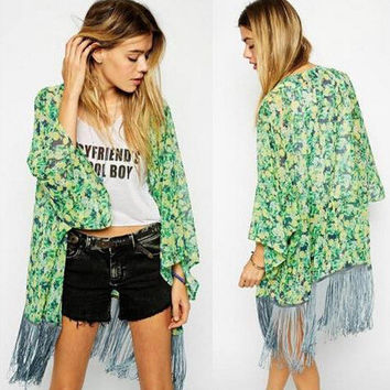 Women's Fashion Stylish Print Tassels Cover Up [6338850561]