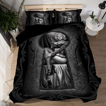 Cool Free shipping Novelty Gift Marilyn Monroe pattern black Quilt duvet Cover with pillowcase set for Twin full Queen King sizeAT_93_12