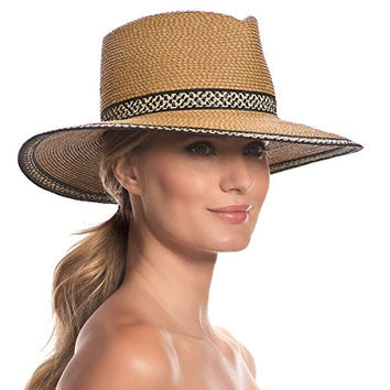 Eric Javits Women's Headwear Georgia Hat (Natural/Black Mix)