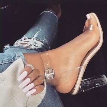 Women Pumps Celebrity Wearing Simple Style PVC Clear Transparent Strappy Buckle Sandal