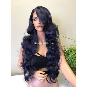 "Blue Hair 30"" Swiss Lace Front Wig - Mermaid"
