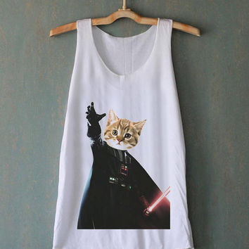 Cat Vader Kitten Kitty Darth Vader Starwars for tank top mens and tank top girls