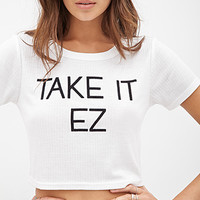 FOREVER 21 Take It EZ Ribbed Tee White/Black