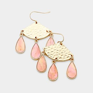 Metal Fan Shape Triple Mother Of Pearl Teardrop Link Earrings