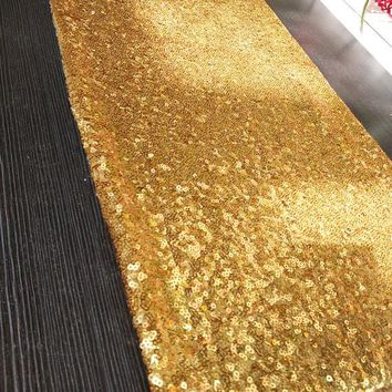 20pcs/lot Luxury Gold Sequin Table Runner for Wedding Decoration Birthday Party Supply Accessories Gold Table Runners 30x275cm