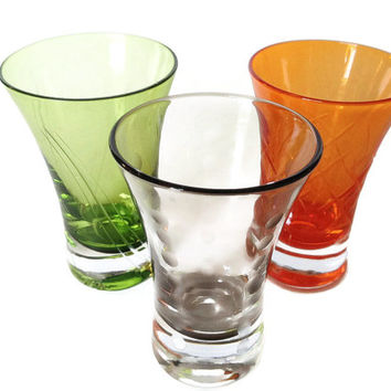 Blown Glass Bar Glasses, Etched Pattern, Multi Color