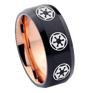8mm Multi Star Wars Empire Bevel Tungsten Carbide Rose Gold Men's Ring