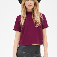 High-Neck Crepe Top