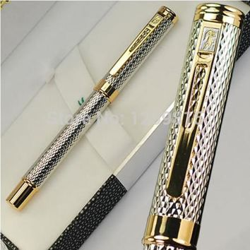 Luxury Stationery Executive Office Supplies Crocodile 218 fountain pens unique desigh Silver raised writing brand gift pen