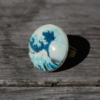 The great wave off Kanagawa - adjustable ring