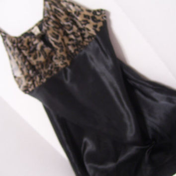 Chemise Gown Sheer Leopard Chiffon and Black Satin Honeymoon Bridal Resort Cruise Wear