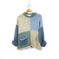Colorblock Speckled Sweater 90s Mock Neck Sweater Loose Fit Pullover Preppy Modern Preppy Blue Green Tunic Hipster Vintage Womens Large