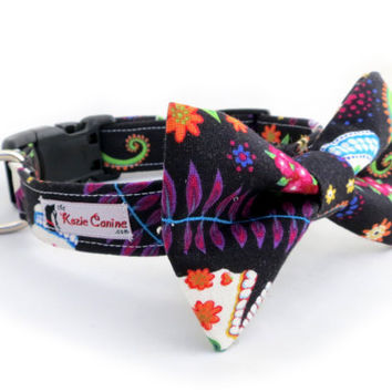 Dia De Los Muertos Skull Dog Collar (Black & Neon Dog Collar - Matching Bow Tie Available)