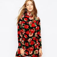 Floral Printed High Collar Long Sleeves  A-Line Dress