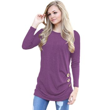 Women Long Sleeves T-shirt Side Buttoned T Shirt O Neck Ruched Side Long Tees Casual Plus Size 3XL 4XL 5XL Tops female Tunics