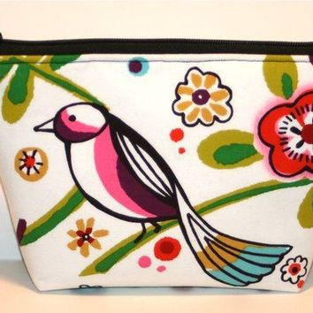Larkspur Birds 2 Padded Flat bottomed Cosmetic by nangatesdesigns