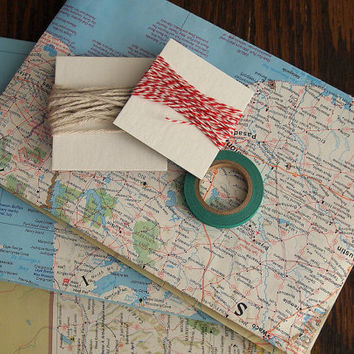 Maps of America gift wrap pack, vintage maps for wrapping paper, twine, washi tape, Christmas wrap, holiday present wrap
