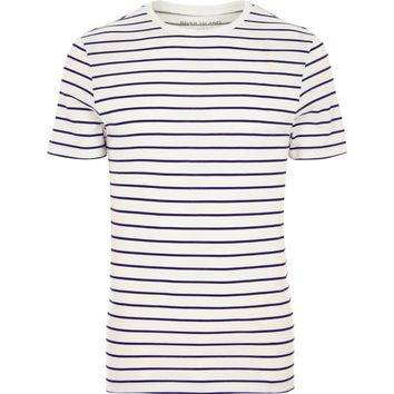 Cream stripe crew neck muscle fit T-shirt - T-shirts - T-Shirts & Tanks - men