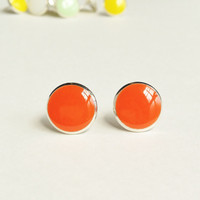 Orange Earrings, Bright Orange Stud Earrings, Flat Top Stud Earrings, 12 mm Stud Earrings, Tangerine Earrings, Resin Jewelry, For Her