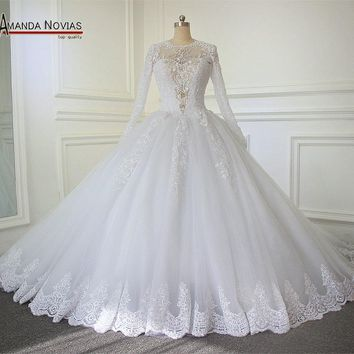 2018 Luxury Cathedral/Royal Train Ball Gown Wedding Dress 2017 Lace Beading Zipper Back Vestido De Noiva