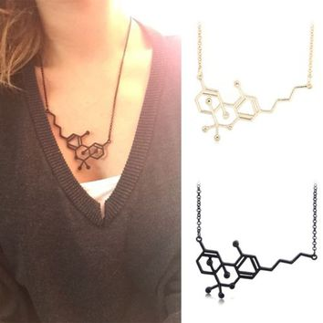 Creative Chemical THC Molecule Structure Formula Pendant Necklace Women's Gift