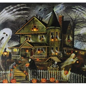"Small  LED Lighted Creepy Haunted House Halloween Canvas Wall Art 12"" x 15.75"""