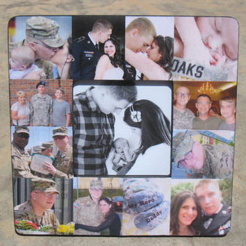 Custom Military Photo Collage Picture Frame - Army, Navy, Air Force, Marines, Coast Guard Frames - DISCOUNT for U.S. Military Families