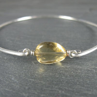 Yellow Gemstone Bracelet - Yellow Citrine Bracelet - Bangle Bracelet - Silver Bangle Bracelet - Jewelry - Bracelet - Yellow Silver Bracelet