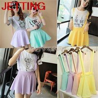 JETTING-HOT Candy Color Casual Hollow Mini Skater Cute Women Suspender Clothes Straps High Waist Skirt