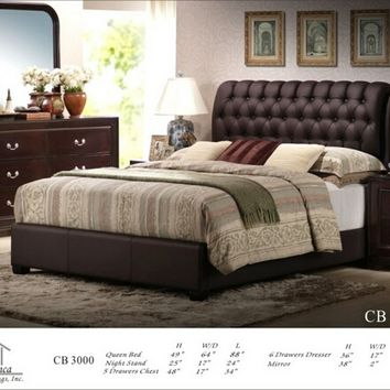 4 pc Nicole collection Queen espresso finish wood sleigh bed headboard with tufted headboard