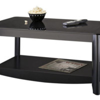 Contemporary Coffee Table Living Room Furniture Tinted Glass Top Black Finish