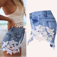 Plus Size Fashion Denim Shorts Women Skinny Mid Waist Hot Girls Shorts 5