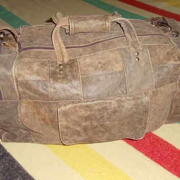 vintage distressed leather duffle bag BIG weekend travel backpack rucksack